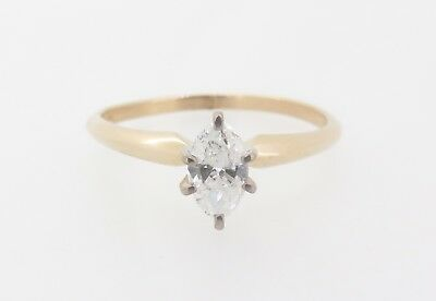 AU795 • Buy .Marquise Cut 0.37ct Diamond G Colour 14k Yellow Gold Solitaire Ring Val $2320