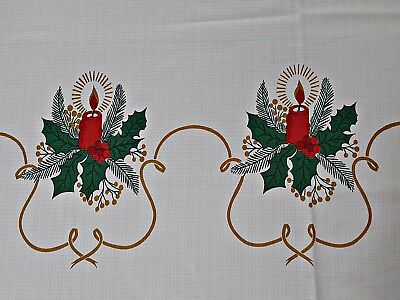 $ CDN35.25 • Buy VINTAGE AUTHENTIC CHRISTMAS DECORATION CANDLES WHITE RED 62  X 70  TABLECLOTH
