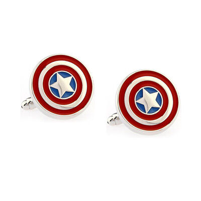 Stylish Men's Women's Captain America Cufflinks For Wedding Party • 4.99£