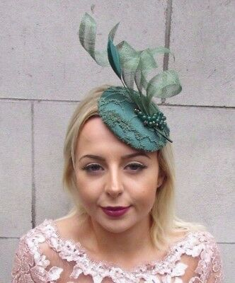 Forest Emerald Green Feather Fascinator Hat Hair Clip Pillbox Races Formal 4605 • 41.95£