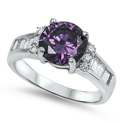 $19.19 • Buy Amethyst CZ Round Solitaire Polished Ring .925 Sterling Silver Band Sizes 5-10