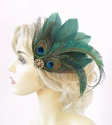 Dark Green Gold Peacock Feather Fascinator Hair Clip Races Cocktail 1920s 4633 • 13.95£