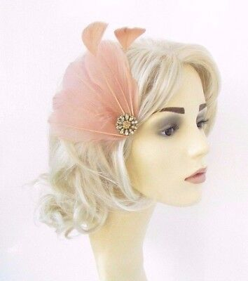 Nude Gold Feather Fascinator Hair Clip Races Headpiece Cocktail Vtg 1920s 4646 • 8.95£