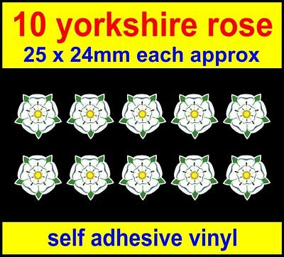 10x Yorkshire Rose Vinyl Stickers, County Badge Laptop Toolbox Bike Car Decals • 1.80£
