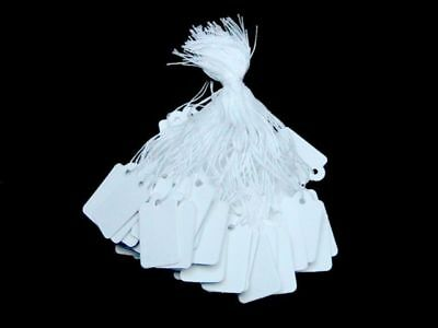 Plain White Strung String Gift Jewelry Display Price Tags Tag Tie On Labels • 0.99£