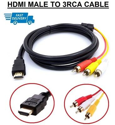 £4.39 • Buy UK HDMI Male To 3 RCA Audio Video AV Cable Adapter Lead TV HDTV DVD 1080P 1.5MT