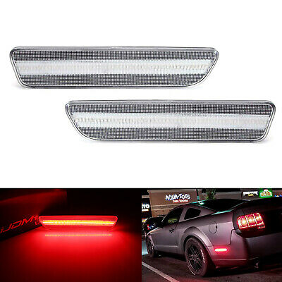$34.19 • Buy Clear Lens LED Rear Side Markers W/ 54 Red LED Lights For 2005-09 Ford Mustang