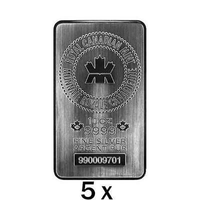 $ CDN19999.99 • Buy 50 Oz | 5 X 10 Oz Silver Bar - Royal Canadian Mint - RCM - .9999 Ag