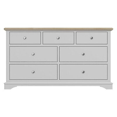 £314.96 • Buy Darley Two Tone Wide Chest Of Drawers In Solid Oak And Light Grey