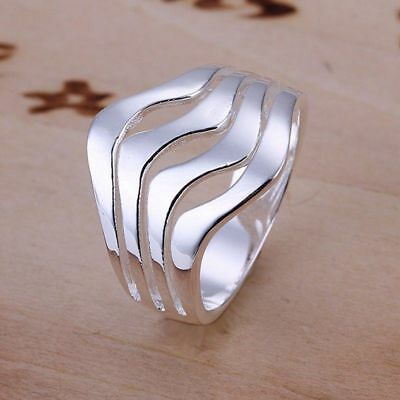 AU3.11 • Buy Fashion 925Sterling Solid Silver Jewelry Ripple Rings For Women R123