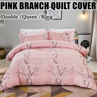 AU40.28 • Buy Pink Floral Quilt Duvet Cover Set Double Queen King Size Bedding New Doona Cover