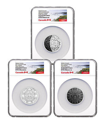 2017 Canada Phases Of Moon 3-Coin Set 2 Oz Silver $30 NGC PF70 UC ER SKU49453 • 441.62£