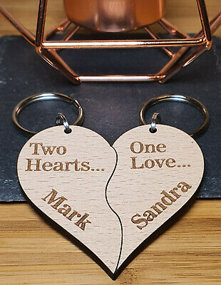 £5.99 • Buy Personalised Wooden Keyring Valentine's Gift Wedding Anniversary Couple Present