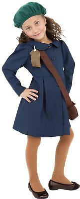 World War Two Evacuee Girl Costume Kids Civilian Fancy Dress Outfit With Hat • 12.99£