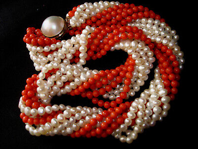 $2500 • Buy Vintage Taiwanese Red Coral Fresh  Water Pearl 14k Mabe Pearl Clasp Choker Ne