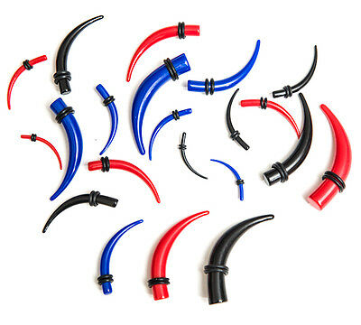 Ear Stretcher Kit Set Of Curved Tapers Expanders Tunnels Plugs Red Blue Or Black • 2.95£