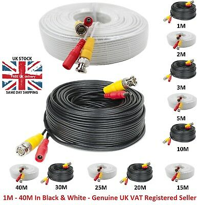 1M-40M BNC Video Data Power CCTV DC Security Camera DVR Record Extension Cable • 2.99£