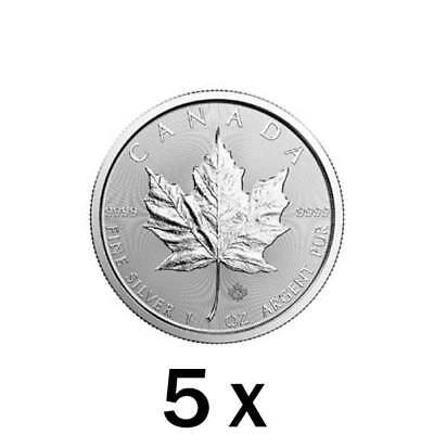 $ CDN999.99 • Buy 5 Oz | 5 X 1 Oz 2019 Silver Maple Leaf Coin - RCM .9999 Ag - Royal Canadian Mint