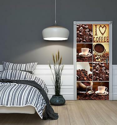 Door Mural Photo Sticker Non-woven 10449_VET I Love Coffee Collage Food Drink Co • 28.90£