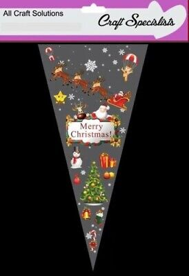 £2.77 • Buy MERRY CHRISTMAS - Cone Bags - Party Bags - Sweets - Cellophane Bags + Twist Ties