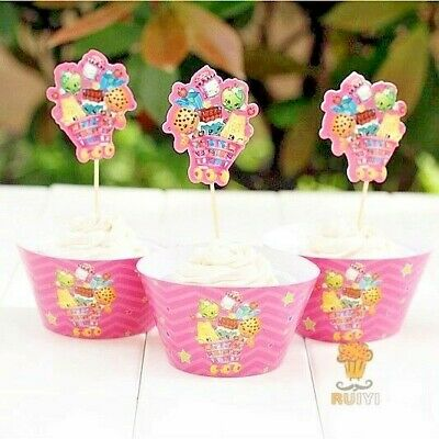 £2.99 • Buy Shopkins Cupcake Wrappers/ Cupcake Toppers Kids Birthday Party Decoration