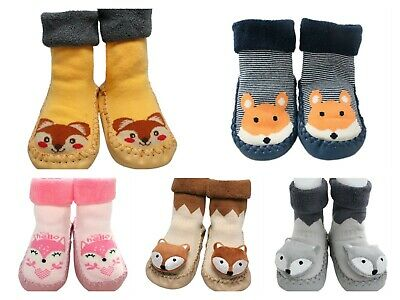 Baby Boy Girl Toddler Slippers Grip Socks Blue Striped Fox Anti-slip 3-24 Months • 6.30£