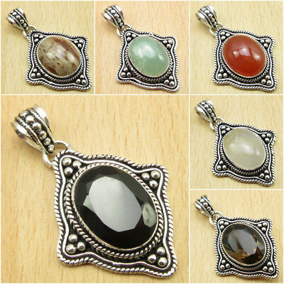 925 Silver Plated Natural BLACK ONYX & Other GEMSTONE, YOUR SELECTION PENDANT • 6.52AU