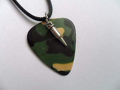 £2.99 • Buy Camouflage Guitar Pick Leather Necklace And Silver Bullet Charm