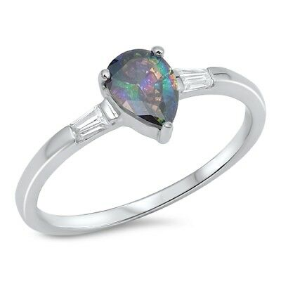 $9.29 • Buy Teardrop Rainbow Topaz CZ Solitaire Ring 925 Sterling Silver Sizes 4-12 NEW
