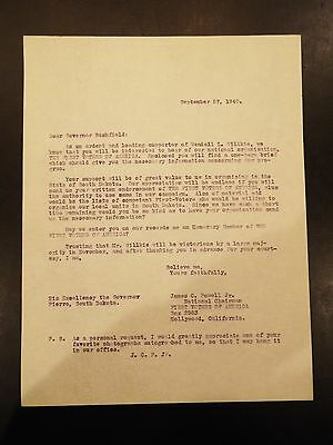 $ CDN18.23 • Buy Letter Addressed To Governor Bushfield Of South Dakota From James C. Powell1940