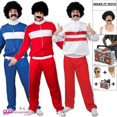 80's Retro Trackie Tracksuit Shell Suit Costume Mens Fancy Dress Outfit Wig 80s • 16.99£