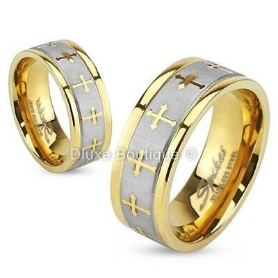 $8.99 • Buy Stainless Steel 316L Gold IP Brushed Celtic Cross Wedding Band Ring Size 5-13