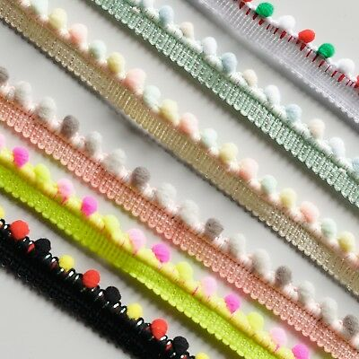 Small Pom Pom Edge Insert Braid Sewing Trim Tape - 6 Colours - Sold By The Metre • 1.39£