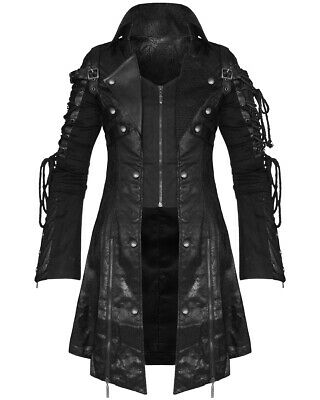 Punk Rave Poison Black Jacket Mens Faux Leather Goth Steampunk Military Coat • 114.99£