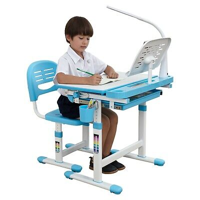 Ergonomic Kids Desk Chair With LED Lamp Steel Bookstand Height Adjustable Table • 139£