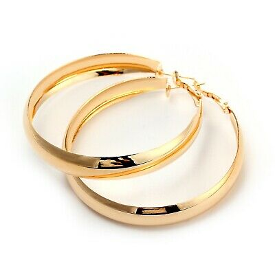 AU6.90 • Buy 18K Rose GOLD GF Elegant Large Hoop High Polished Ladies Dangle Solid Earrings