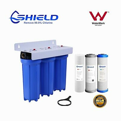AU124.95 • Buy Triple Whole House Water Filter System 10  X 2.5  3 Stages 3/4  Port  WaterMark