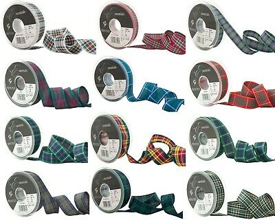 Berisfords Tartan Woven Edge Ribbon - Authentic Scottish Clan Approved -5 Widths • 1.50£