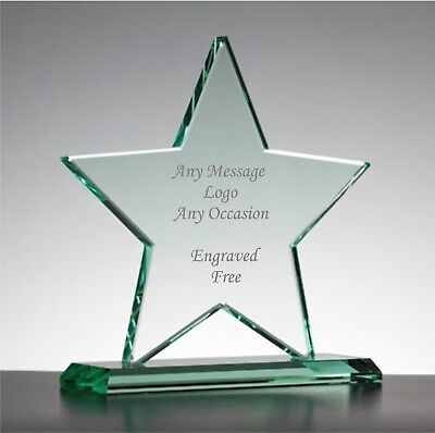 £24.99 • Buy Personalised Engraved Jade Glass Star Trophy On Base, Corporate Gift Text & Logo