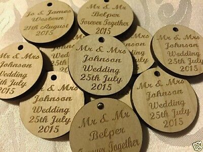 £3.75 • Buy Personalised DOUBLE Sided Wooden Wedding  Favours Round Tags, Table Decorations