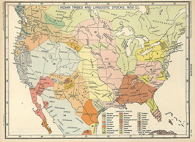 £21.69 • Buy 1650 US Map Indian Tribes & Linguistic Stocks Native American Historical Poster