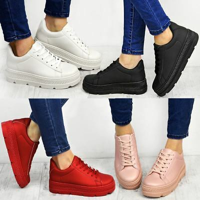 £9.99 • Buy Black Flatform Wedge Trainers Womens Sports Shoes Sneakers Work Creepers Size