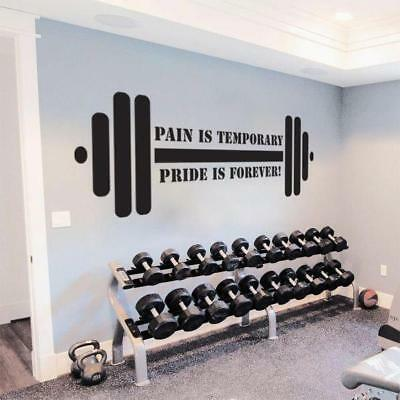 £20.99 • Buy PAIN IS TEMPORARY PRIDE FOREVER Gym Weights Decal WALL STICKER Art Quote SQ118