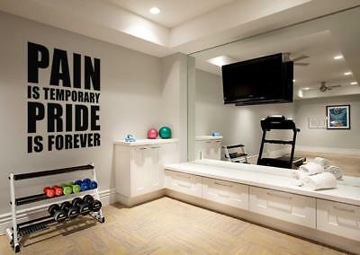 £14.99 • Buy PAIN IS TEMPORARY PRIDE FOREVER Gym Weights Decal WALL STICKER Art Quote SQ119
