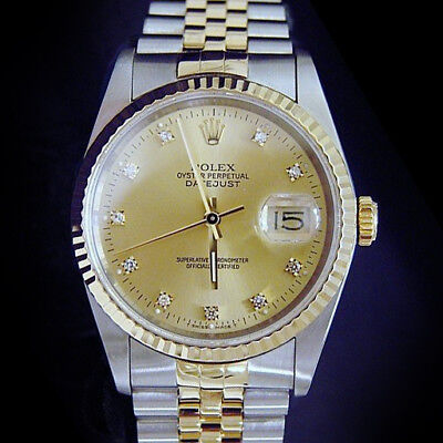 $ CDN9273.66 • Buy Mens Rolex Datejust 2Tone 18k Gold Steel Watch Gold FACTORY DIAMOND Dial 16233
