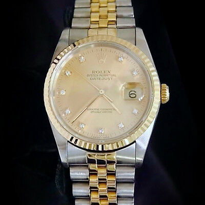 $ CDN9273.66 • Buy Mens Rolex Datejust Two-Tone 18k Gold And Steel Watch FACTORY DIAMOND Dial 16233