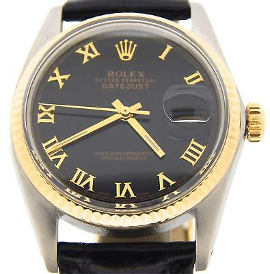 $ CDN5108.31 • Buy Rolex Datejust Mens 2Tone 18K Yellow Gold Stainless Watch Black Roman Dial 16013