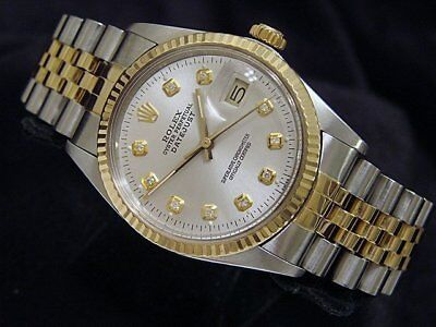 $ CDN5874.56 • Buy Rolex Datejust Mens Stainless Steel Yellow Gold Watch Silver Diamond Dial 16013