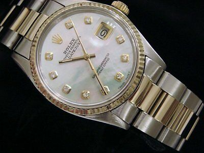 $5277.98 • Buy Rolex Datejust Mens 2tone Gold & Steel Watch White Mother Pearl Diamond 16013