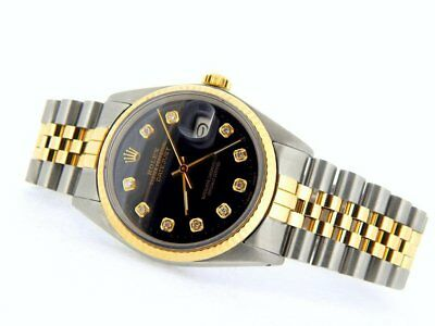 $ CDN6621.05 • Buy Rolex Datejust Mens Stainless Steel Yellow Gold Watch Diamond Black 16013